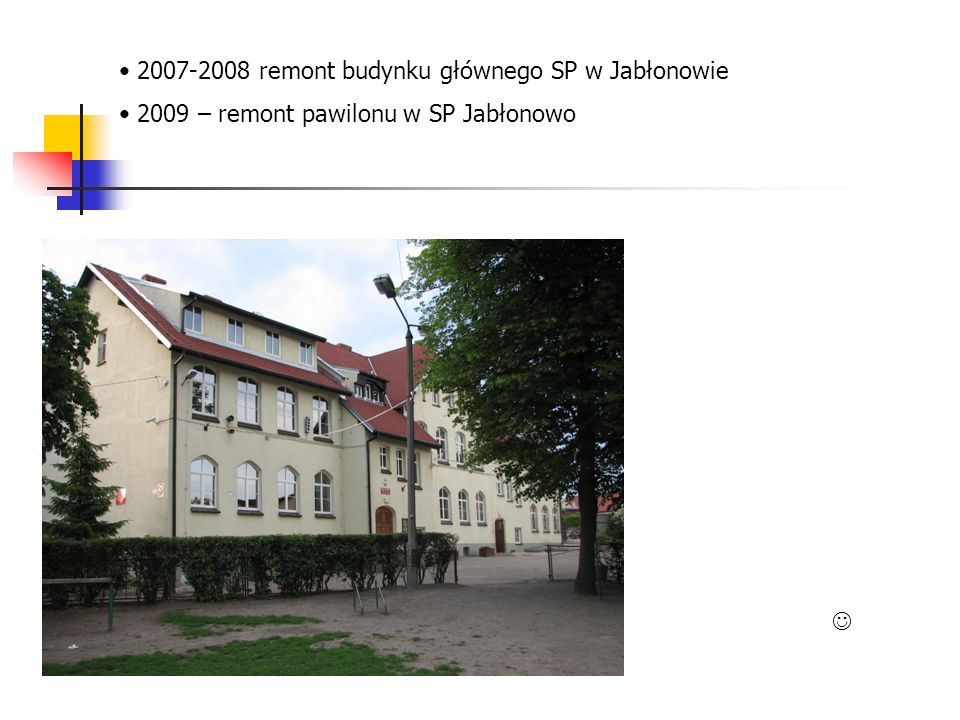 2007-2008 remont budynku głównego SP w Jabłonowie 2009 – remont pawilonu w SP Jabłonowo