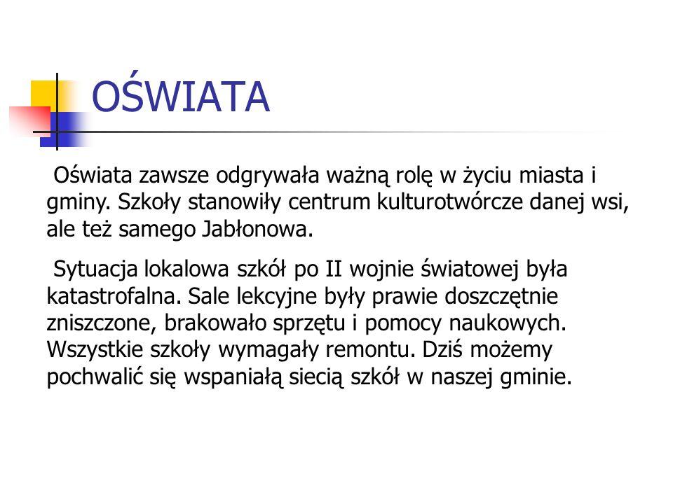 OŚWIATA Oświata zawsze odgrywała ważną rolę w życiu miasta i gminy. Szkoły stanowiły centrum kulturotwórcze danej wsi, ale też samego Jabłonowa. Sytua