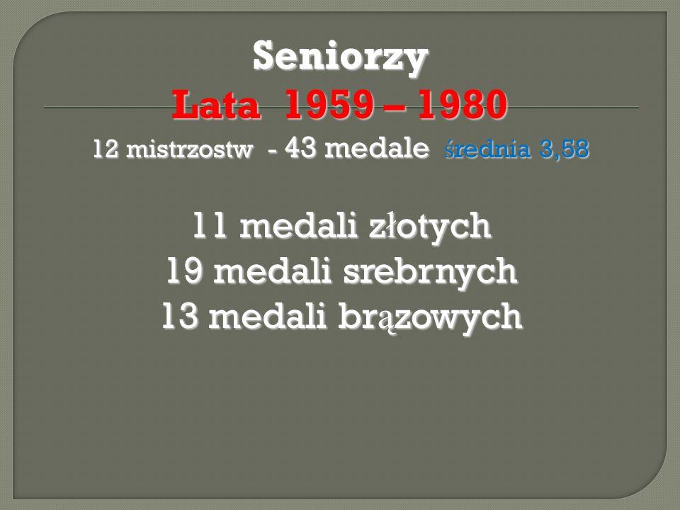 Seniorzy Lata 1959 – 1980 12 mistrzostw - 43 medale ś rednia 3,58 11 medali z ł otych 19 medali srebrnych 13 medali br ą zowych