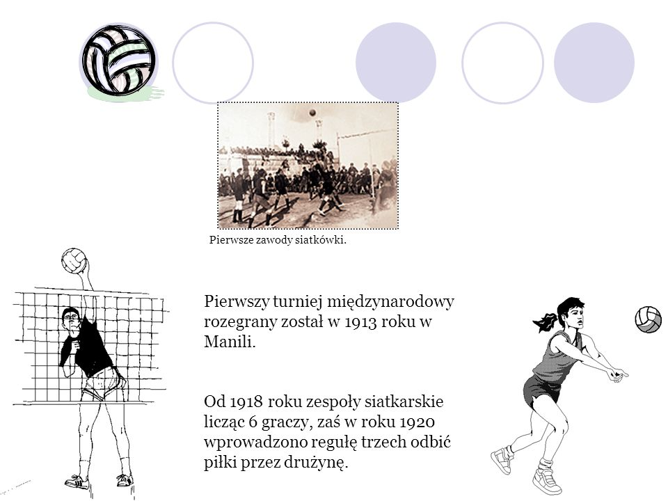 Pierwsze zawody siatkówki. Pierwszy turniej międzynarodowy rozegrany został w 1913 roku w Manili. Od 1918 roku zespoły siatkarskie licząc 6 graczy, za