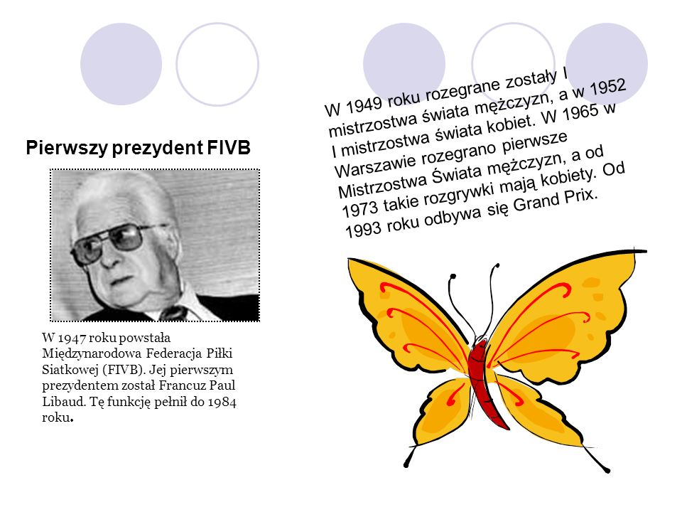 W 1947 roku powstała Międzynarodowa Federacja Piłki Siatkowej (FIVB). Jej pierwszym prezydentem został Francuz Paul Libaud. Tę funkcję pełnił do 1984
