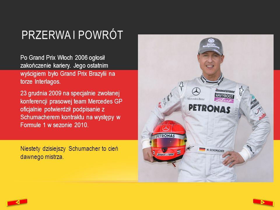 PRZERWA I POWRÓT Po Grand Prix Włoch 2006 ogłosił zakończenie kariery. Jego ostatnim wyścigiem było Grand Prix Brazylii na torze Interlagos. 23 grudni