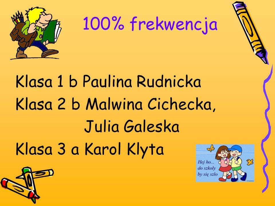 100% frekwencja Klasa 1 b Paulina Rudnicka Klasa 2 b Malwina Cichecka, Julia Galeska Klasa 3 a Karol Klyta