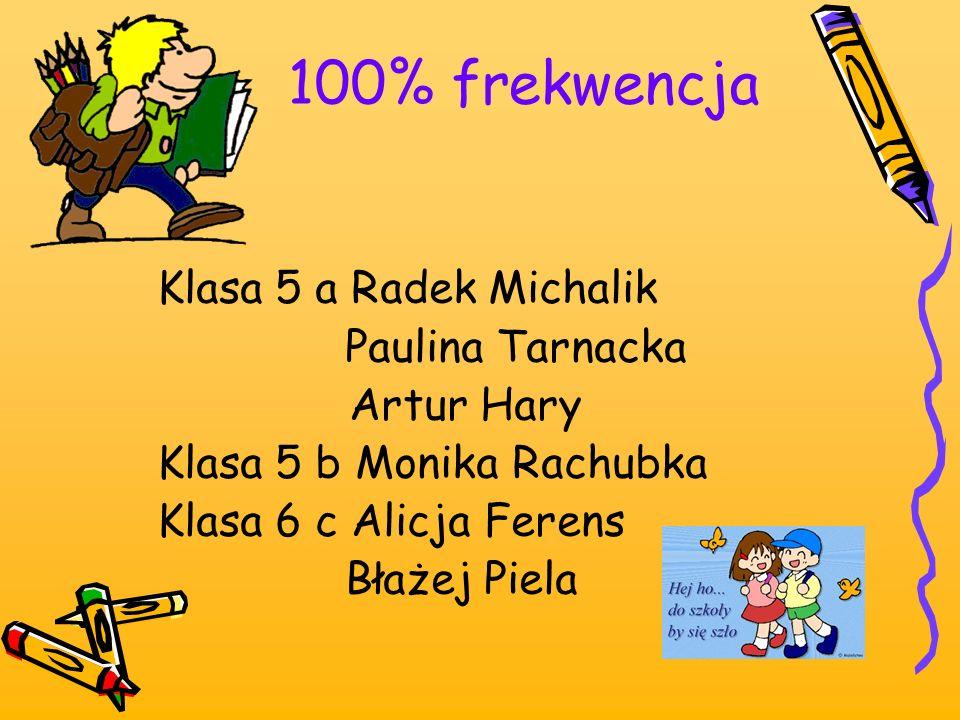 100% frekwencja Klasa 5 a Radek Michalik Paulina Tarnacka Artur Hary Klasa 5 b Monika Rachubka Klasa 6 c Alicja Ferens Błażej Piela