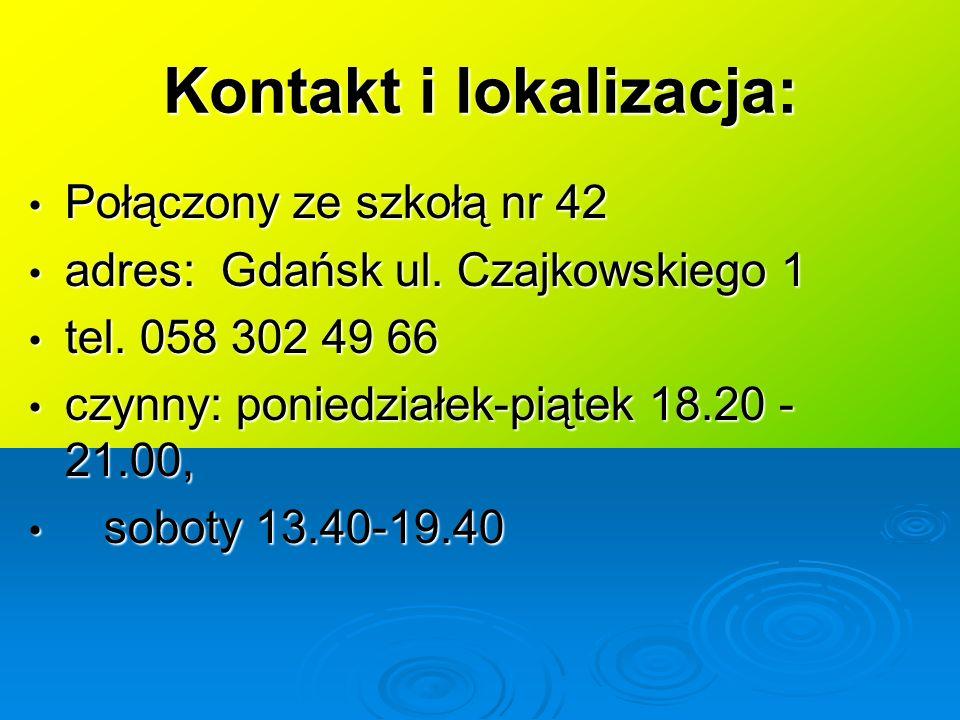 Kontakt i lokalizacja: Połączony ze szkołą nr 42 Połączony ze szkołą nr 42 adres: Gdańsk ul.