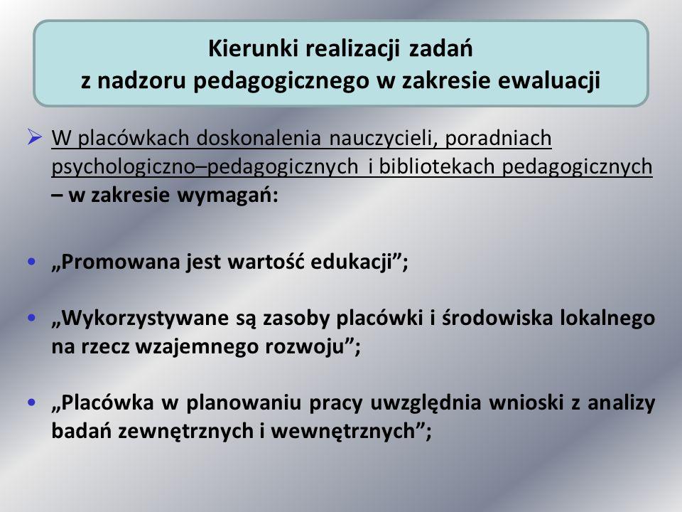 W placówkach doskonalenia nauczycieli, poradniach psychologiczno–pedagogicznych i bibliotekach pedagogicznych – w zakresie wymagań: Promowana jest war