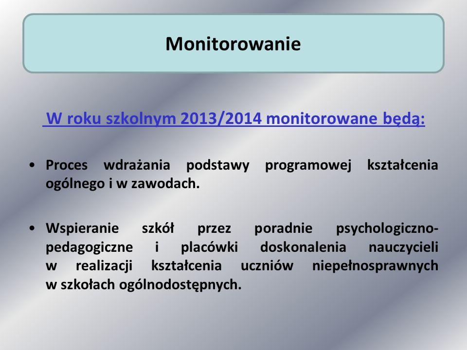 W roku szkolnym 2013/2014 monitorowane będą: Proces wdrażania podstawy programowej kształcenia ogólnego i w zawodach. Wspieranie szkół przez poradnie