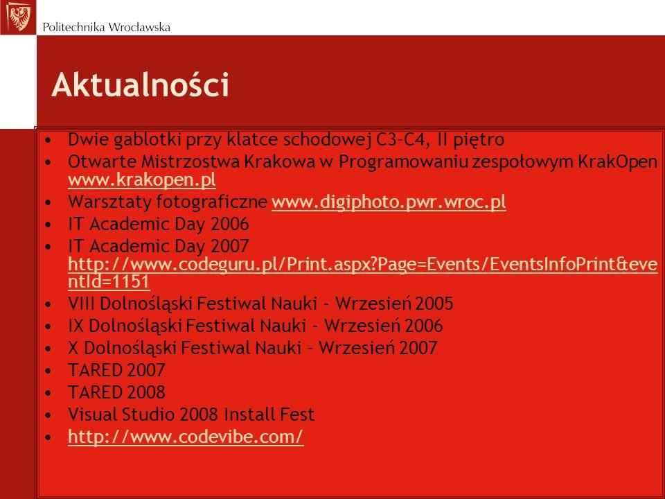 Aktualności Dwie gablotki przy klatce schodowej C3-C4, II piętro Otwarte Mistrzostwa Krakowa w Programowaniu zespołowym KrakOpen www.krakopen.pl www.k