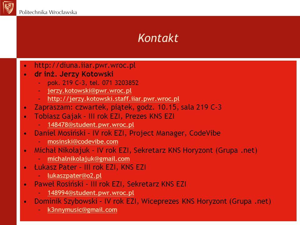 http://diuna.iiar.pwr.wroc.pl dr inż. Jerzy Kotowski –pok. 219 C-3, tel. 071 3203852 –jerzy.kotowski@pwr.wroc.pljerzy.kotowski@pwr.wroc.pl –http://jer