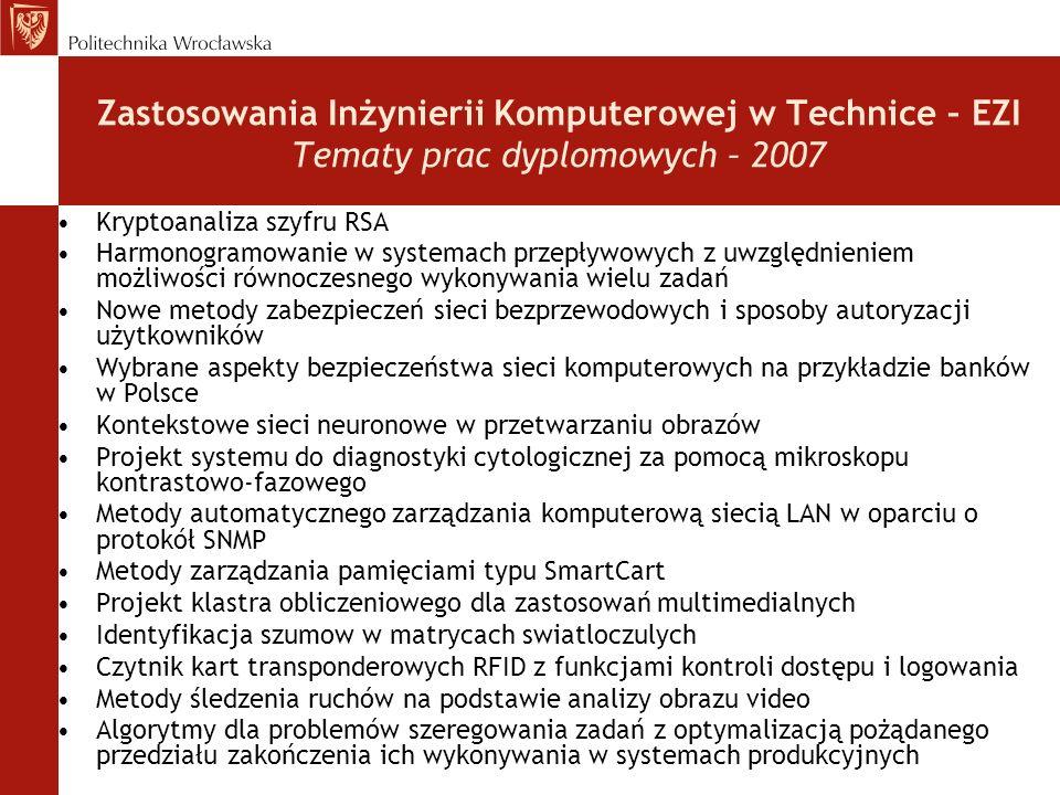Zastosowania Inżynierii Komputerowej w Technice – EZI Tematy prac dyplomowych – 2007 Kryptoanaliza szyfru RSA Harmonogramowanie w systemach przepływow