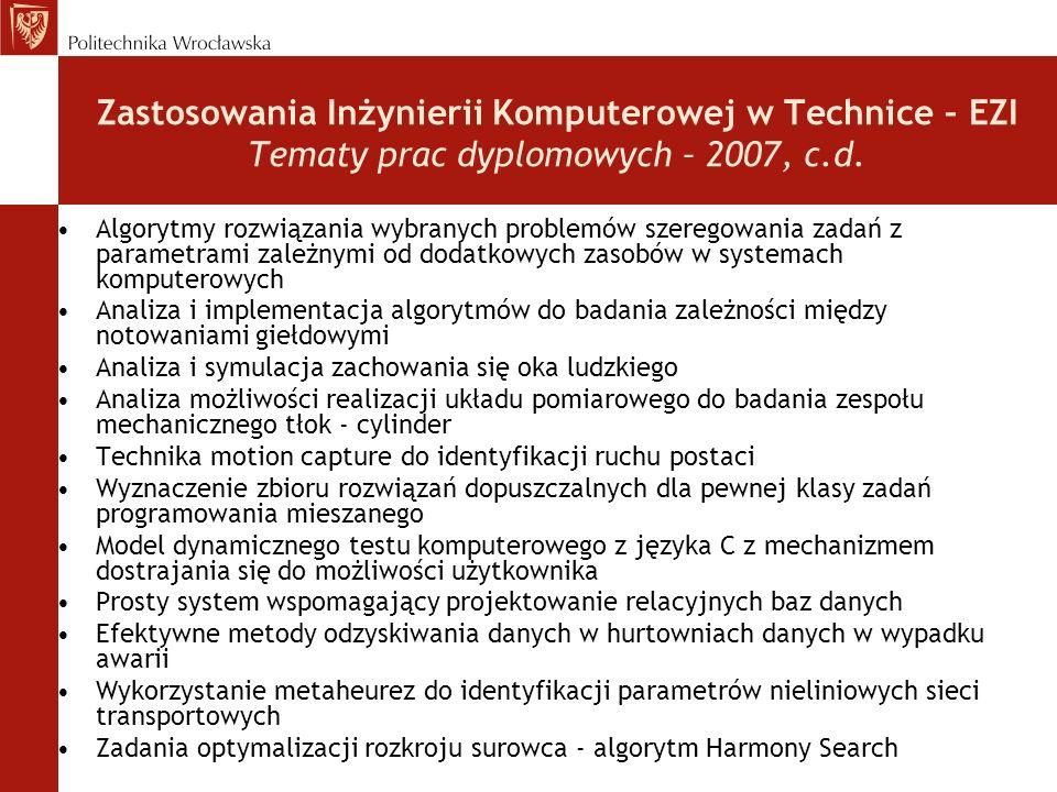 Zastosowania Inżynierii Komputerowej w Technice – EZI Tematy prac dyplomowych – 2007, c.d. Algorytmy rozwiązania wybranych problemów szeregowania zada