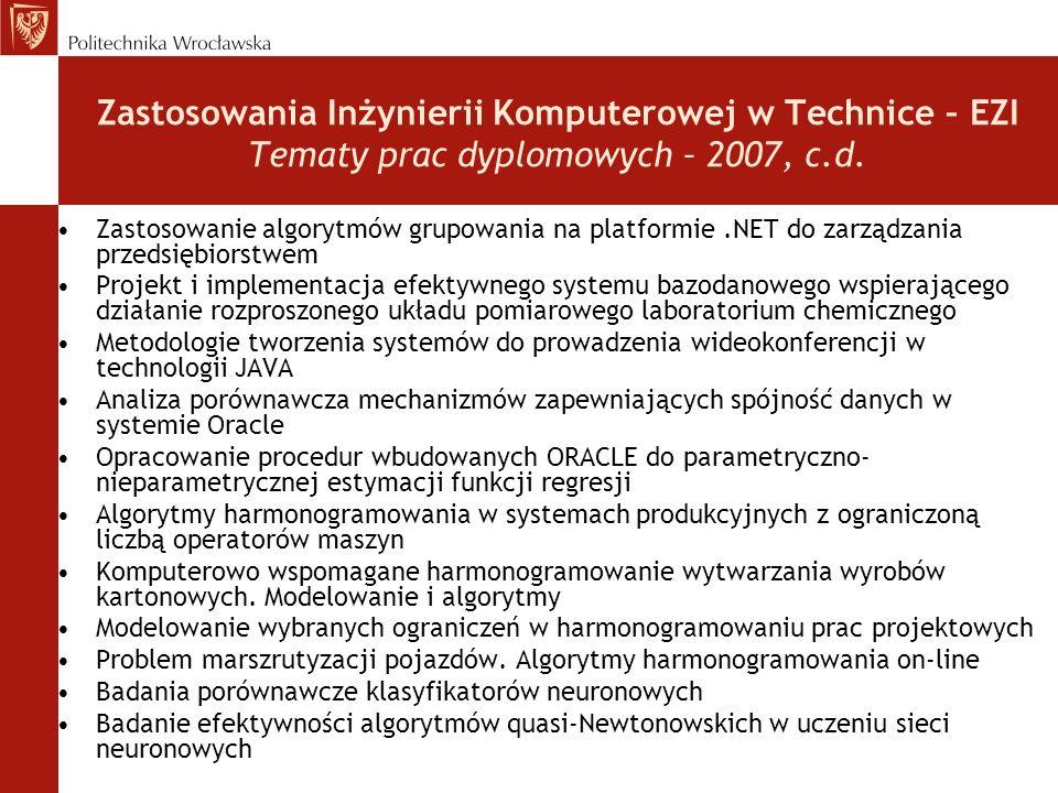 Zastosowania Inżynierii Komputerowej w Technice – EZI Tematy prac dyplomowych – 2007, c.d. Zastosowanie algorytmów grupowania na platformie.NET do zar