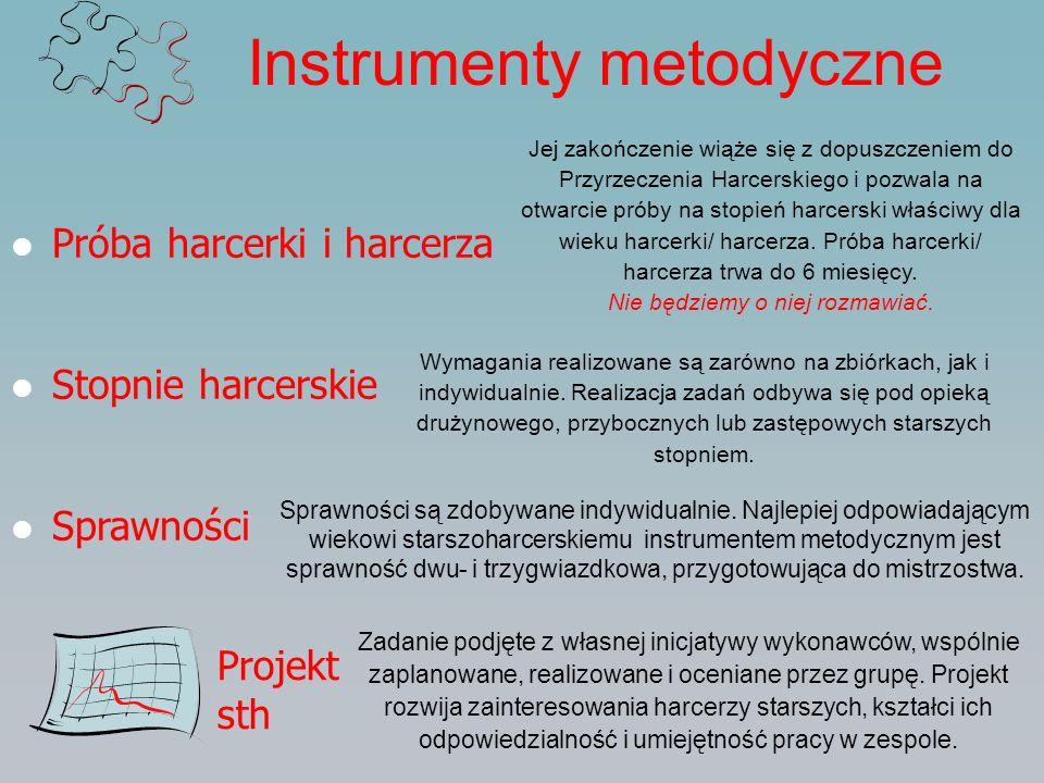 Instrumenty metodyczne Próba harcerki i harcerza Stopnie harcerskie Sprawności Projekt sth Zadanie podjęte z własnej inicjatywy wykonawców, wspólnie z