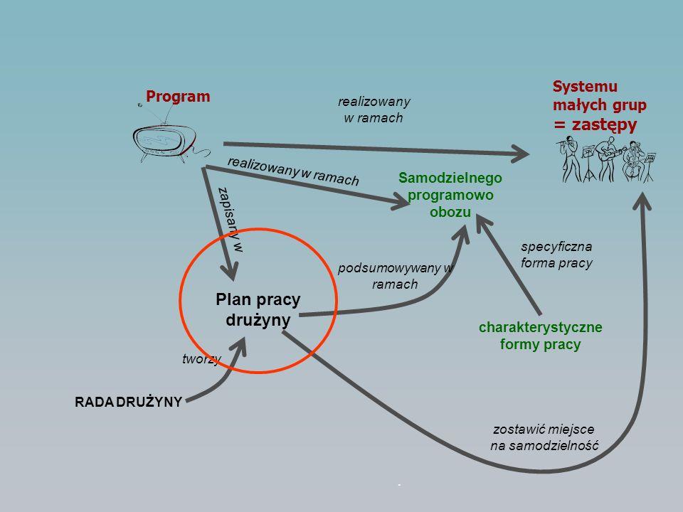 Plan pracy drużyny zapisany w Program Systemu małych grup = zastępy realizowany w ramach Samodzielnego programowo obozu realizowany w ramach podsumowy