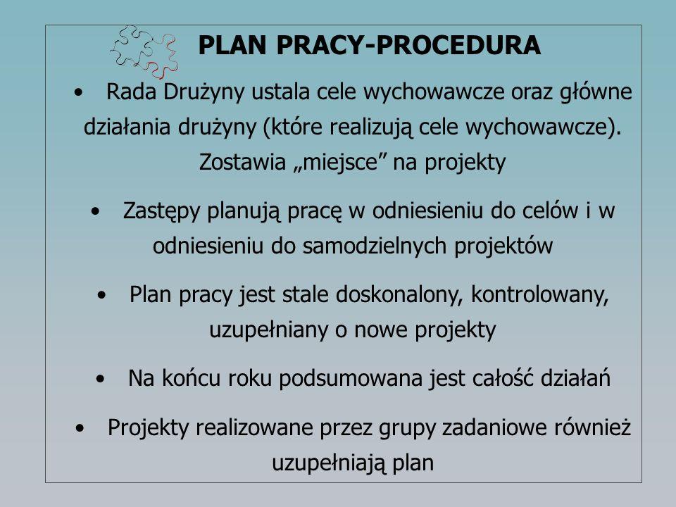 PLAN PRACY-PROCEDURA Rada Drużyny ustala cele wychowawcze oraz główne działania drużyny (które realizują cele wychowawcze). Zostawia miejsce na projek