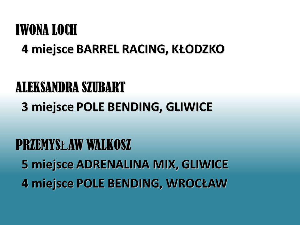 IWONA LOCH 4 miejsce BARREL RACING, KŁODZKO ALEKSANDRA SZUBART 3 miejsce POLE BENDING, GLIWICE 3 miejsce POLE BENDING, GLIWICE PRZEMYS Ł AW WALKOSZ 5