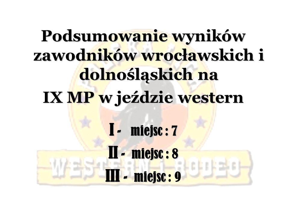 Podsumowanie wyników zawodników wrocławskich i dolnośląskich na IX MP w jeździe western I - miejsc : 7 II - miejsc : 8 III - miejsc III - miejsc : 9