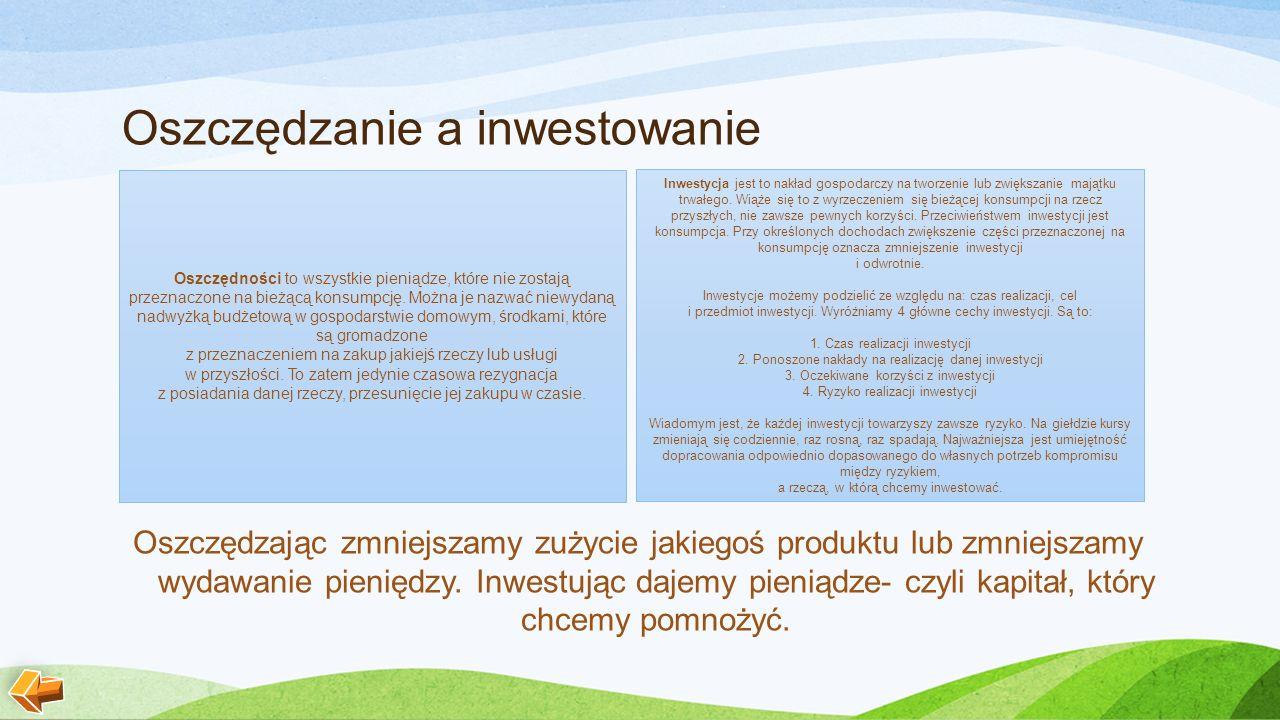 Oszczędzanie a inwestowanie Oszczędzając zmniejszamy zużycie jakiegoś produktu lub zmniejszamy wydawanie pieniędzy.