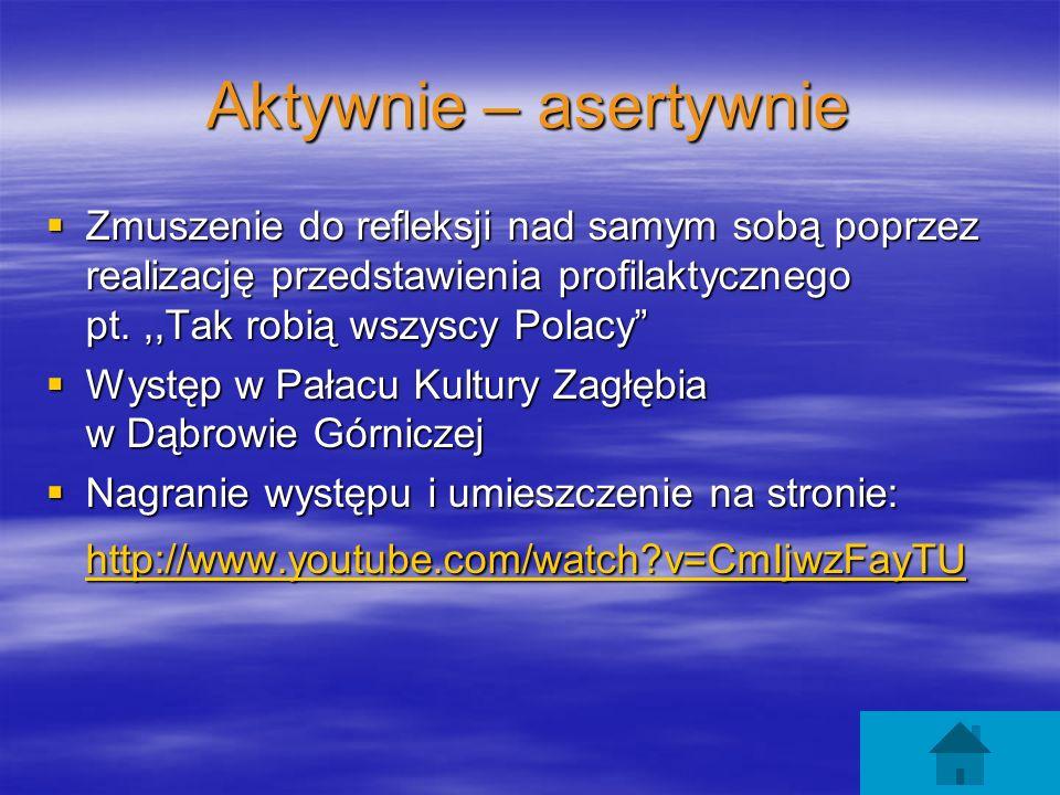 Aktywnie – asertywnie Zmuszenie do refleksji nad samym sobą poprzez realizację przedstawienia profilaktycznego pt.,,Tak robią wszyscy Polacy Zmuszenie