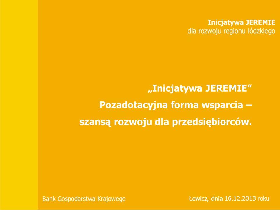 JEREMIE w województwie łódzkim Struktura udzielonego wsparcia dla MŚP pod kątem terytorium działania Stowarzyszenia Powiatów i Gmin Dorzecza Bzury w Łowiczu*.