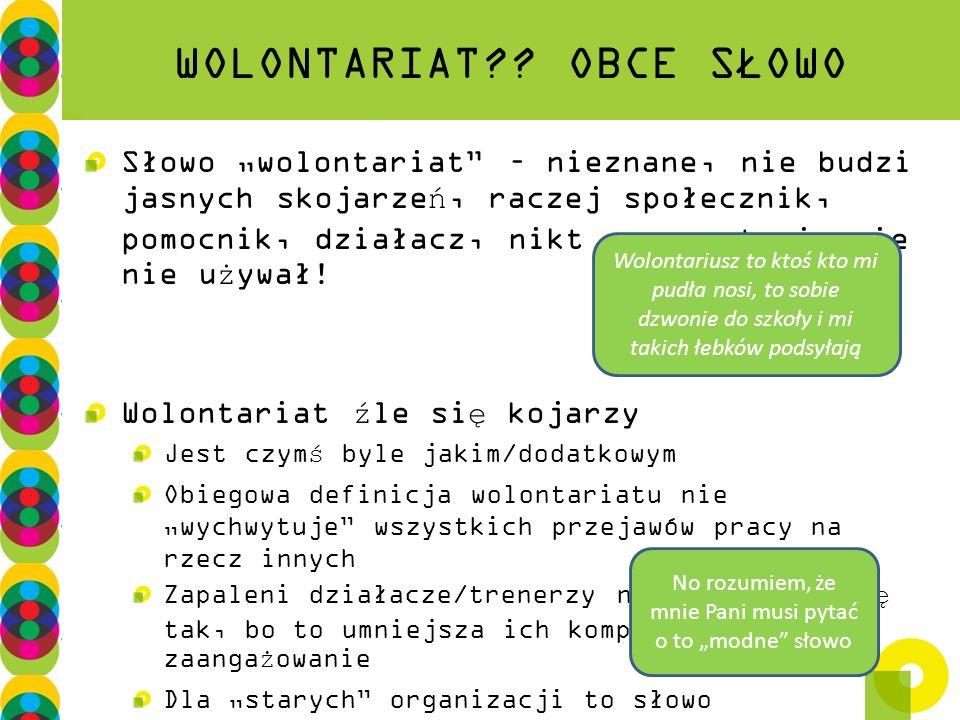 WOLONTARIAT?? OBCE SŁOWO Słowo wolontariat – nieznane, nie budzi jasnych skojarzeń, raczej społecznik, pomocnik, działacz, nikt go spontanicznie nie u