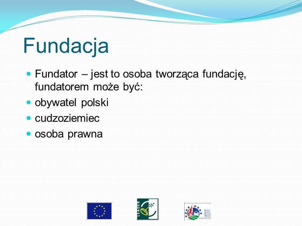 Fundacja Fundator – jest to osoba tworząca fundację, fundatorem może być: obywatel polski cudzoziemiec osoba prawna
