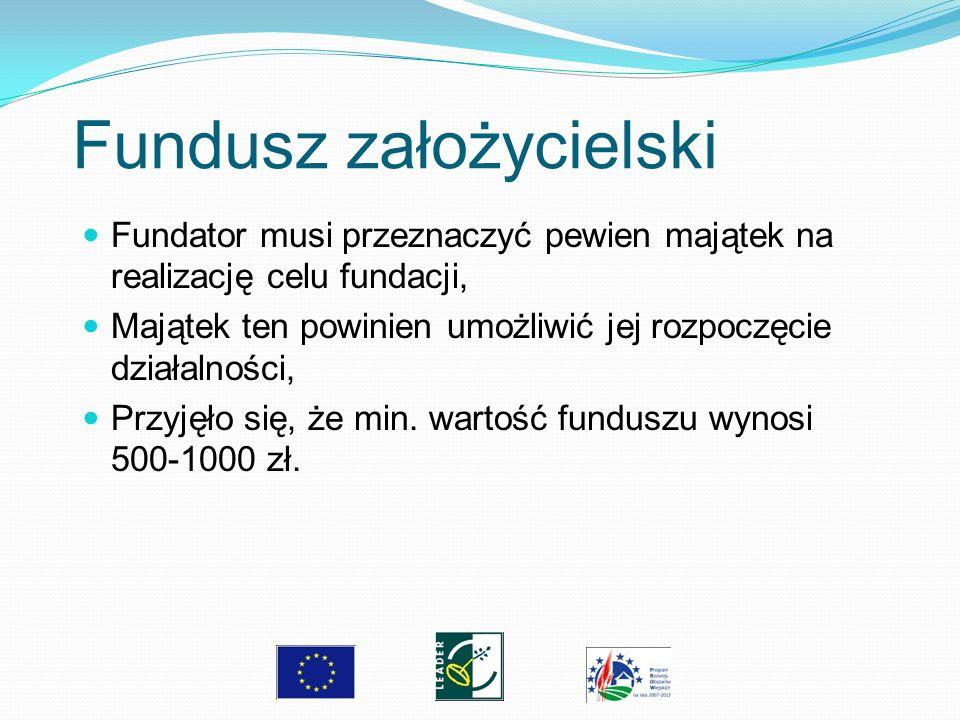 Fundusz założycielski Fundator musi przeznaczyć pewien majątek na realizację celu fundacji, Majątek ten powinien umożliwić jej rozpoczęcie działalnośc