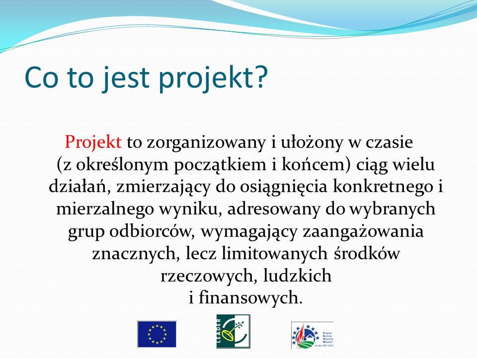Co to jest projekt? Projekt to zorganizowany i ułożony w czasie (z określonym początkiem i końcem) ciąg wielu działań, zmierzający do osiągnięcia konk