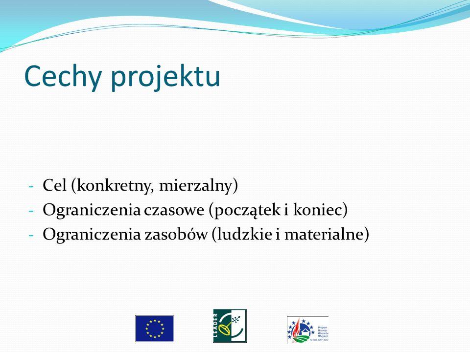 Cechy projektu - Cel (konkretny, mierzalny) - Ograniczenia czasowe (początek i koniec) - Ograniczenia zasobów (ludzkie i materialne)