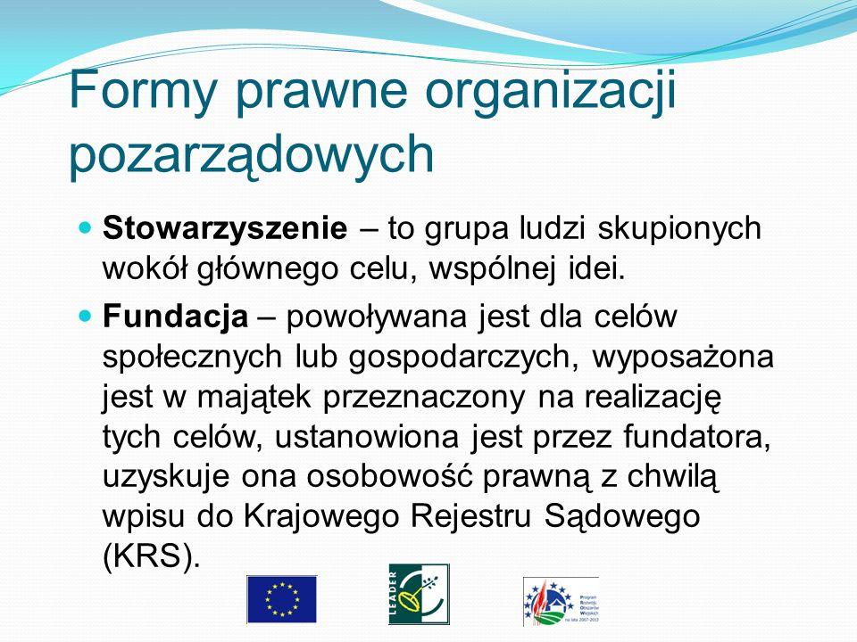 Formy prawne organizacji pozarządowych Stowarzyszenie – to grupa ludzi skupionych wokół głównego celu, wspólnej idei. Fundacja – powoływana jest dla c