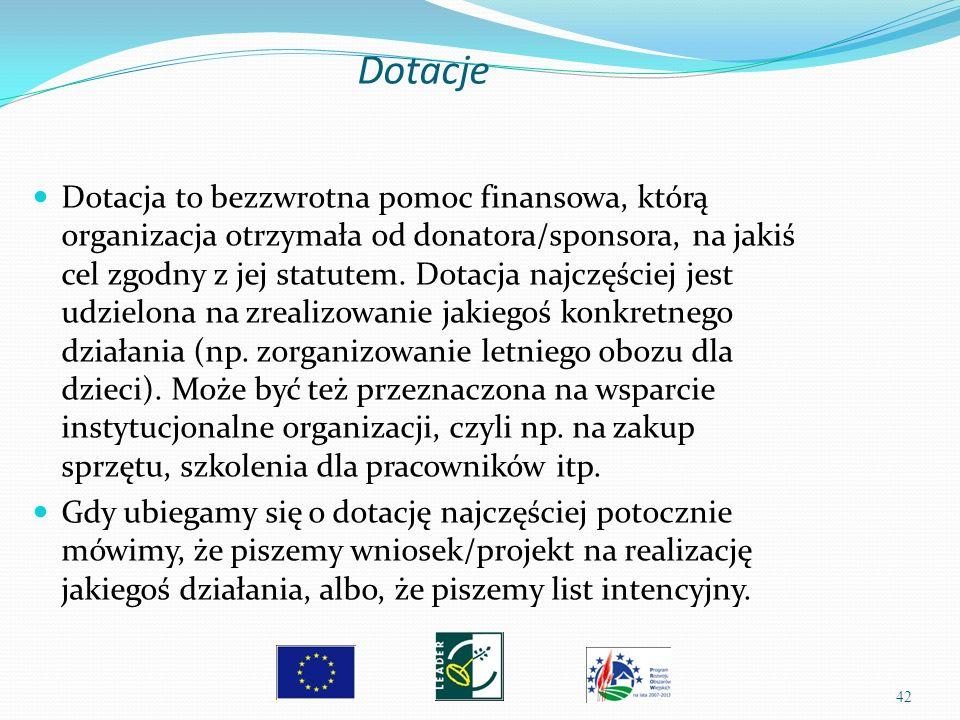 42 Dotacja to bezzwrotna pomoc finansowa, którą organizacja otrzymała od donatora/sponsora, na jakiś cel zgodny z jej statutem. Dotacja najczęściej je