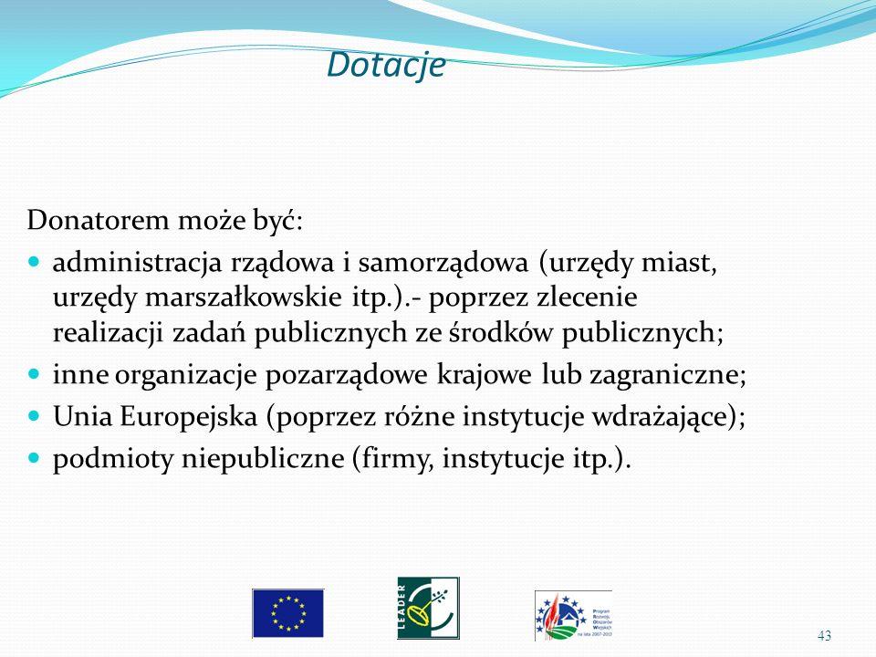 43 Donatorem może być: administracja rządowa i samorządowa (urzędy miast, urzędy marszałkowskie itp.).- poprzez zlecenie realizacji zadań publicznych