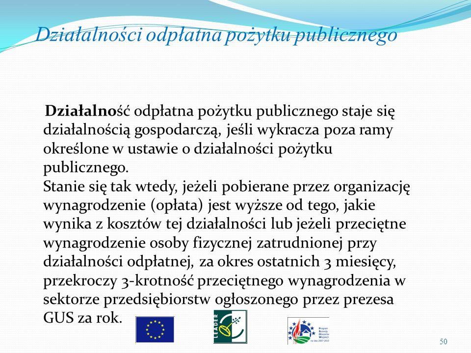 50 Działalność odpłatna pożytku publicznego staje się działalnością gospodarczą, jeśli wykracza poza ramy określone w ustawie o działalności pożytku p