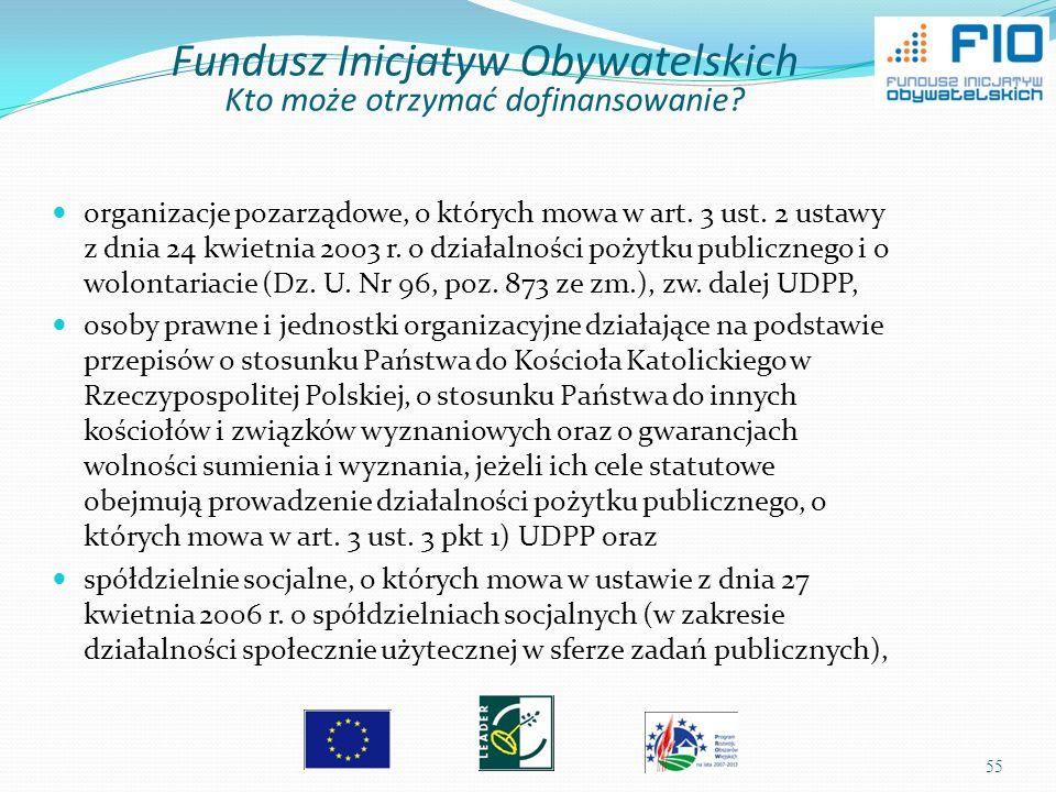 55 organizacje pozarządowe, o których mowa w art. 3 ust. 2 ustawy z dnia 24 kwietnia 2003 r. o działalności pożytku publicznego i o wolontariacie (Dz.