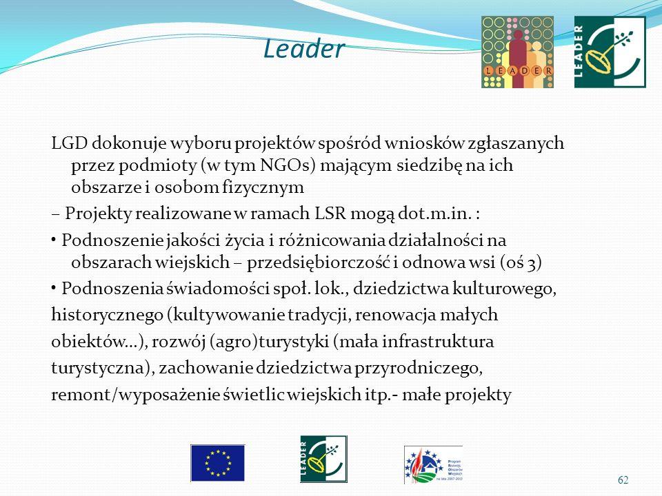 62 LGD dokonuje wyboru projektów spośród wniosków zgłaszanych przez podmioty (w tym NGOs) mającym siedzibę na ich obszarze i osobom fizycznym – Projek