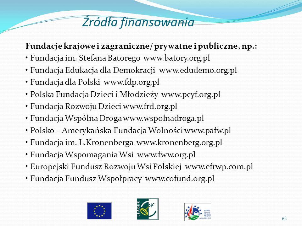 65 Fundacje krajowe i zagraniczne/ prywatne i publiczne, np.: Fundacja im. Stefana Batorego www.batory.org.pl Fundacja Edukacja dla Demokracji www.edu