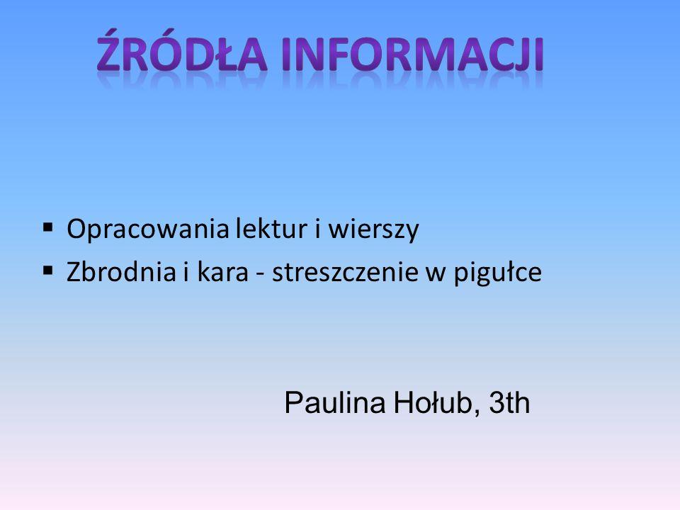 Opracowania lektur i wierszy Zbrodnia i kara - streszczenie w pigułce Paulina Hołub, 3th