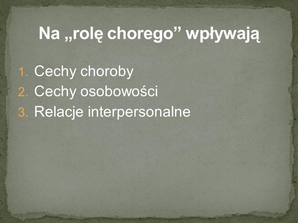 1. Cechy choroby 2. Cechy osobowości 3. Relacje interpersonalne