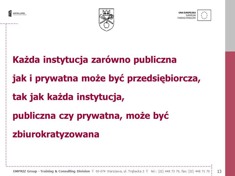 12 EMPRIZ Group - Training & Consulting Division Ÿ 00-074 Warszawa, ul. Trębacka 3 Ÿ tel.: (22) 448 73 70, fax: (22) 448 71 70 Dlaczego władzy nie moż