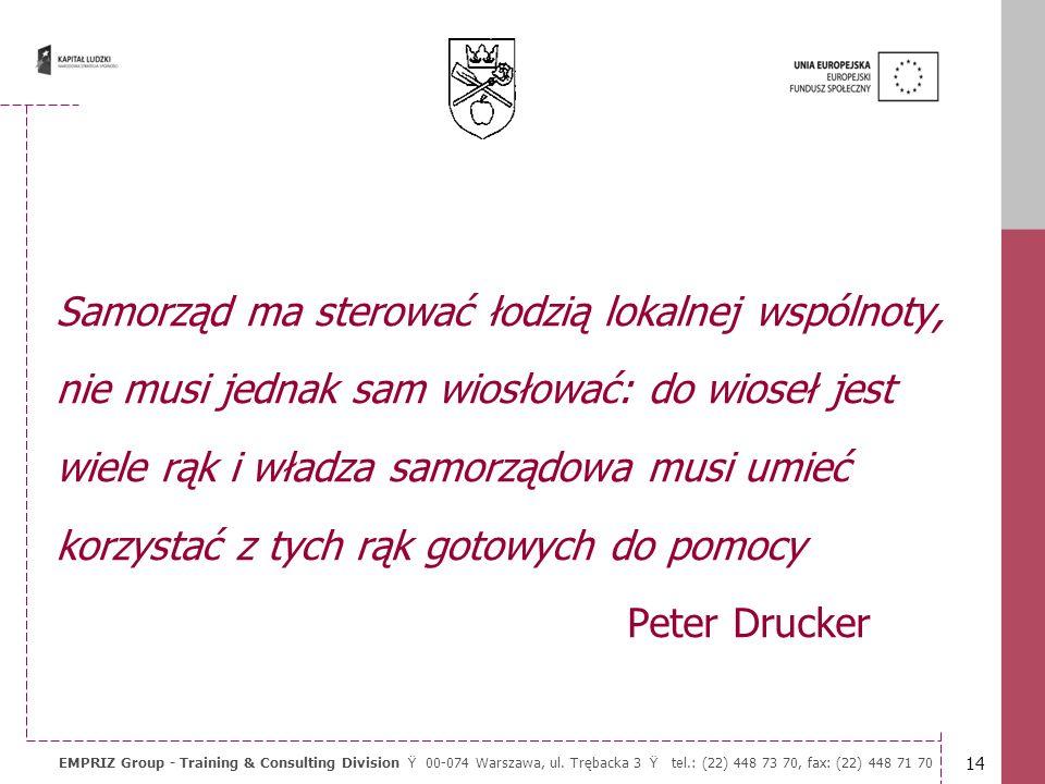13 EMPRIZ Group - Training & Consulting Division Ÿ 00-074 Warszawa, ul. Trębacka 3 Ÿ tel.: (22) 448 73 70, fax: (22) 448 71 70 Każda instytucja zarówn