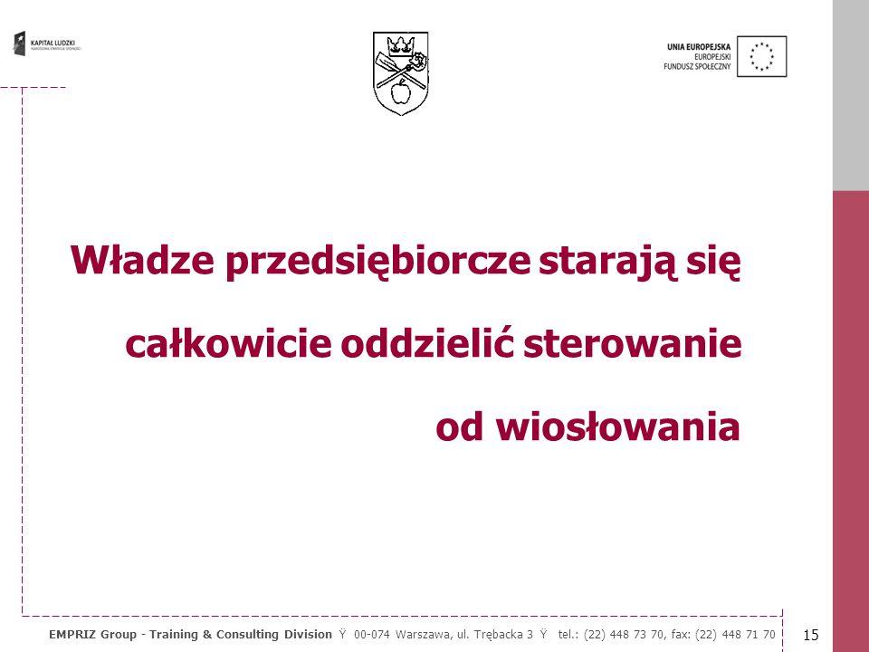 14 EMPRIZ Group - Training & Consulting Division Ÿ 00-074 Warszawa, ul. Trębacka 3 Ÿ tel.: (22) 448 73 70, fax: (22) 448 71 70 Samorząd ma sterować ło