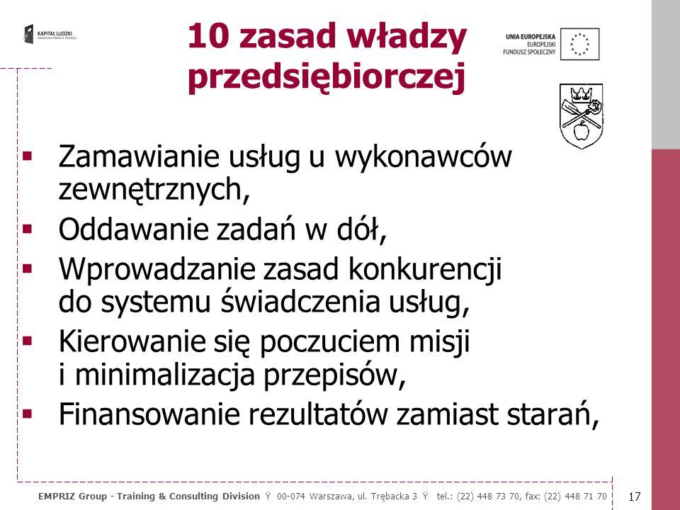 16 EMPRIZ Group - Training & Consulting Division Ÿ 00-074 Warszawa, ul. Trębacka 3 Ÿ tel.: (22) 448 73 70, fax: (22) 448 71 70 Główne cechy dobrze zar