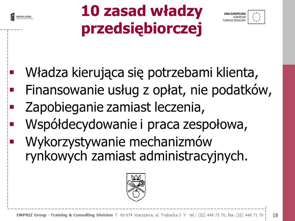 17 EMPRIZ Group - Training & Consulting Division Ÿ 00-074 Warszawa, ul. Trębacka 3 Ÿ tel.: (22) 448 73 70, fax: (22) 448 71 70 10 zasad władzy przedsi