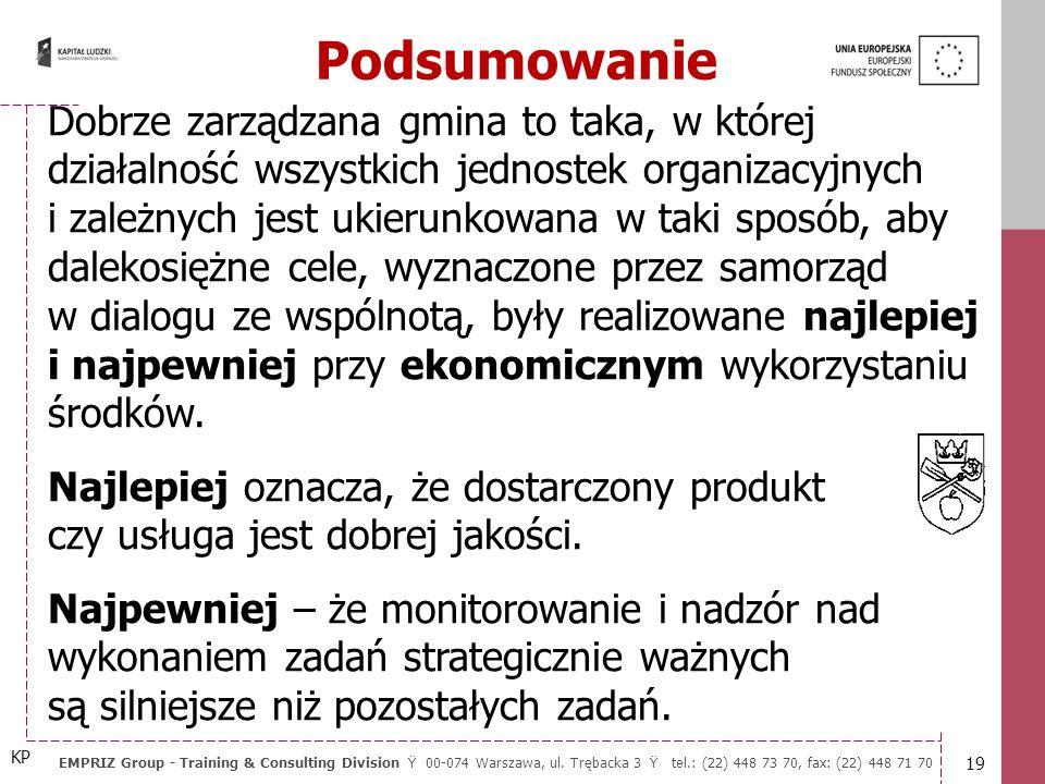 18 EMPRIZ Group - Training & Consulting Division Ÿ 00-074 Warszawa, ul. Trębacka 3 Ÿ tel.: (22) 448 73 70, fax: (22) 448 71 70 10 zasad władzy przedsi