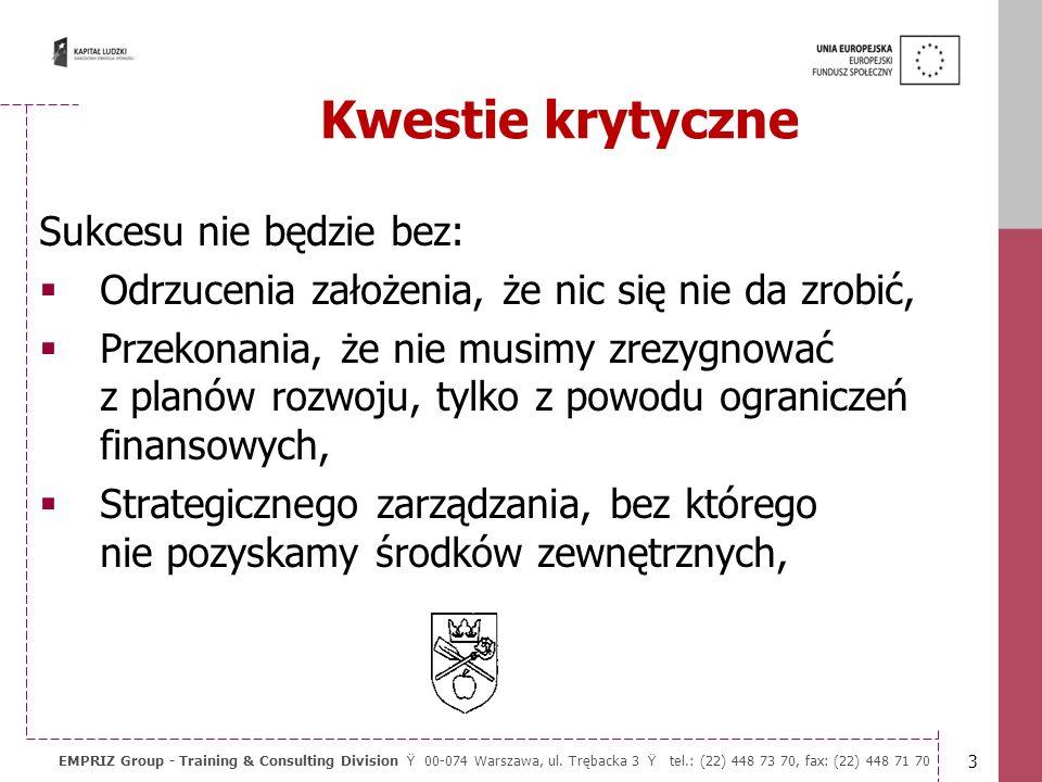 2 EMPRIZ Group - Training & Consulting Division Ÿ 00-074 Warszawa, ul. Trębacka 3 Ÿ tel.: (22) 448 73 70, fax: (22) 448 71 70 Misją samorządu jest wyp