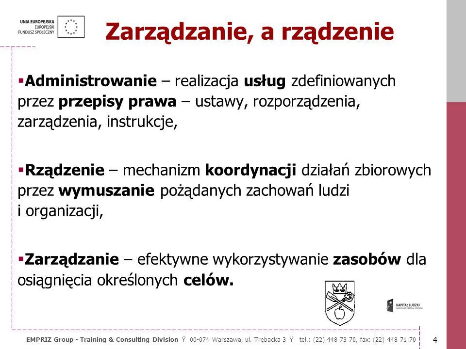 3 EMPRIZ Group - Training & Consulting Division Ÿ 00-074 Warszawa, ul. Trębacka 3 Ÿ tel.: (22) 448 73 70, fax: (22) 448 71 70 Kwestie krytyczne Sukces