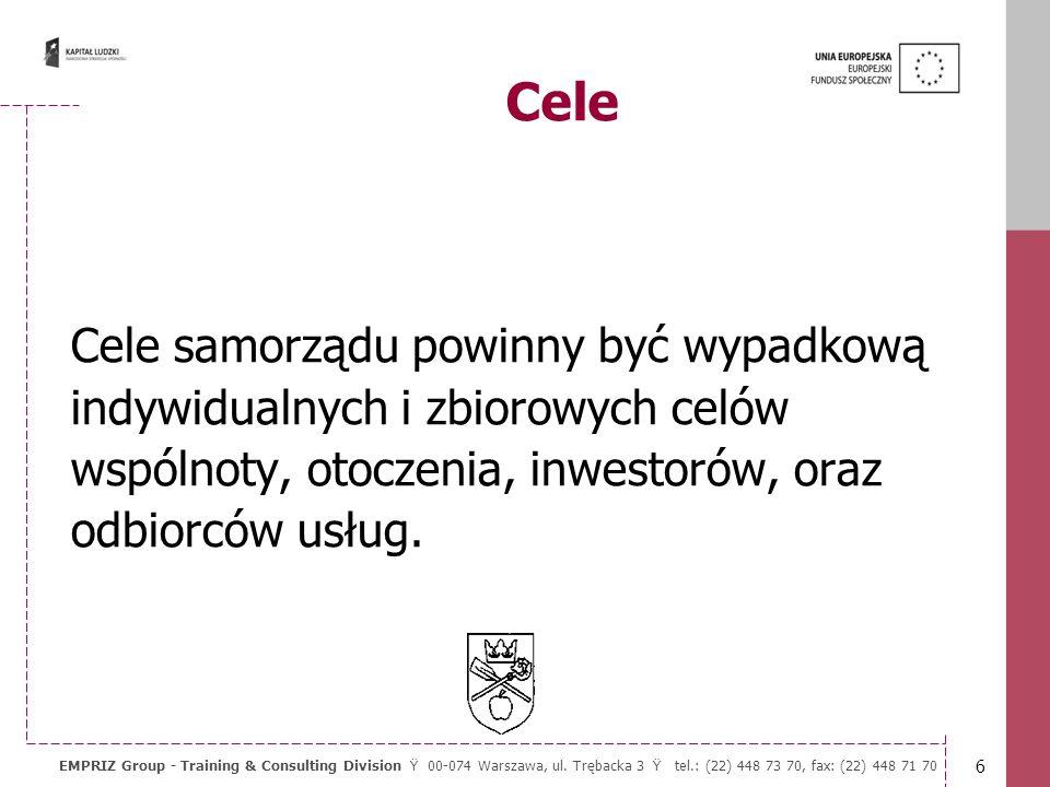 5 EMPRIZ Group - Training & Consulting Division Ÿ 00-074 Warszawa, ul. Trębacka 3 Ÿ tel.: (22) 448 73 70, fax: (22) 448 71 70 Cele Systemu Zarządzania