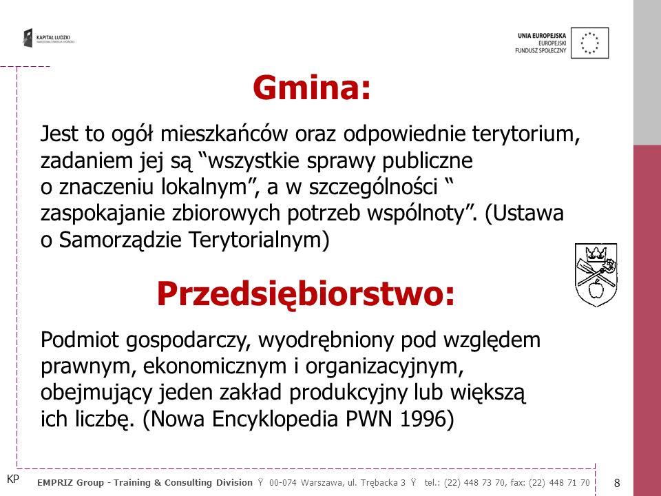 18 EMPRIZ Group - Training & Consulting Division Ÿ 00-074 Warszawa, ul.