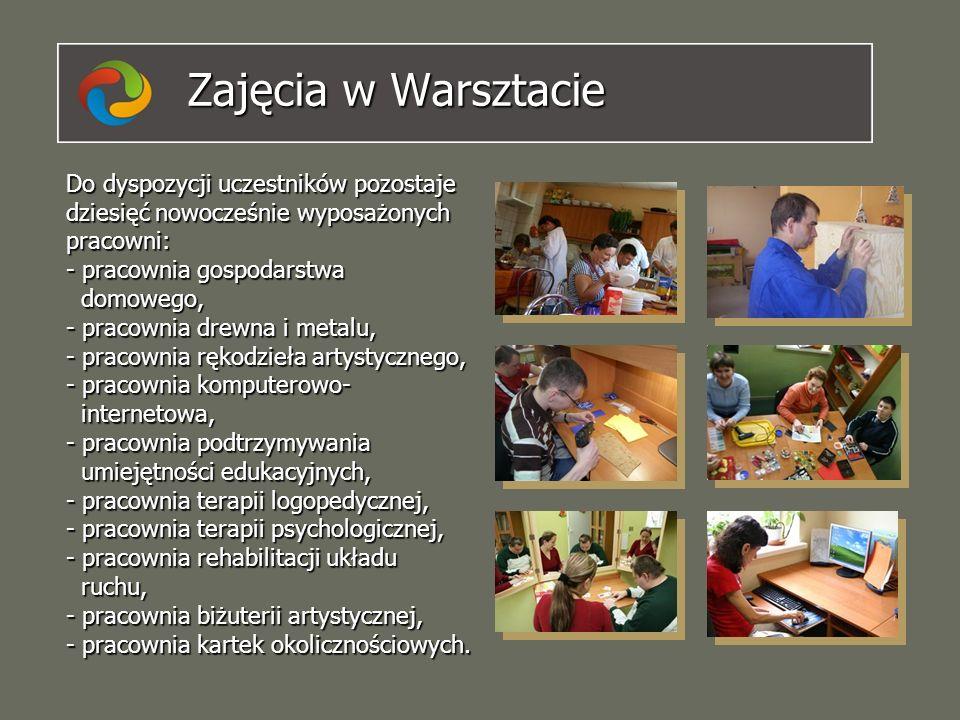 Zajęcia w Warsztacie Do dyspozycji uczestników pozostaje dziesięć nowocześnie wyposażonych pracowni: - pracownia gospodarstwa domowego, - pracownia dr