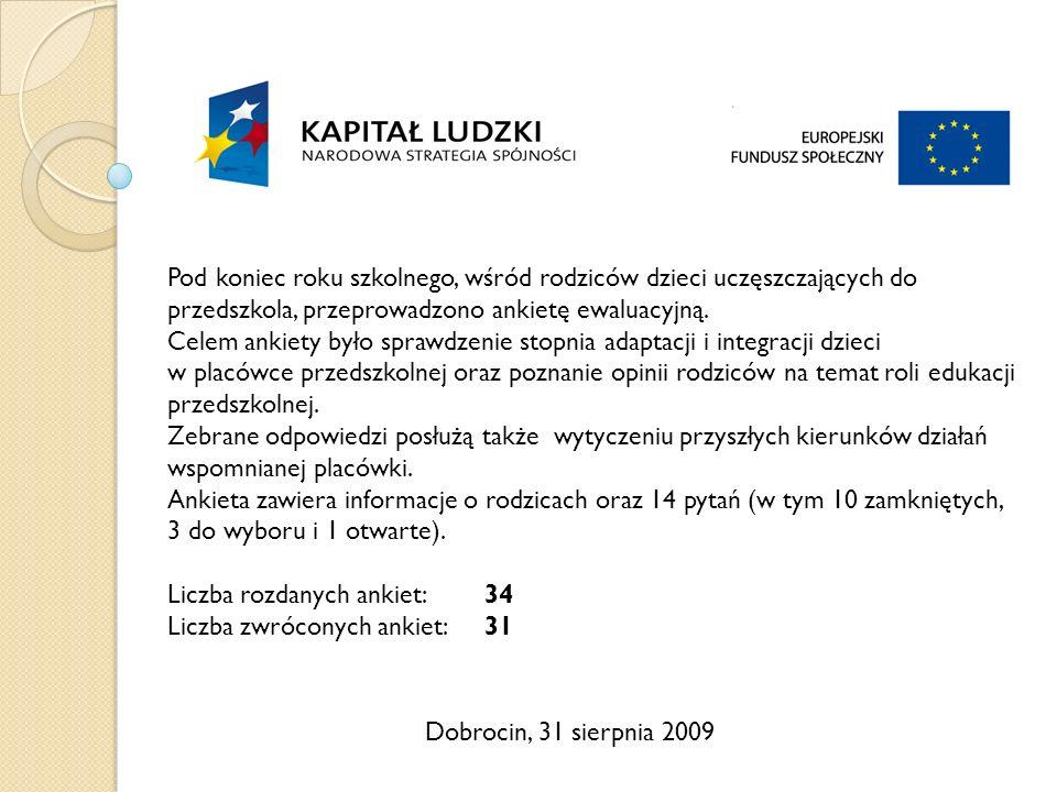 Dobrocin, 31 sierpnia 2009 Pod koniec roku szkolnego, wśród rodziców dzieci uczęszczających do przedszkola, przeprowadzono ankietę ewaluacyjną.